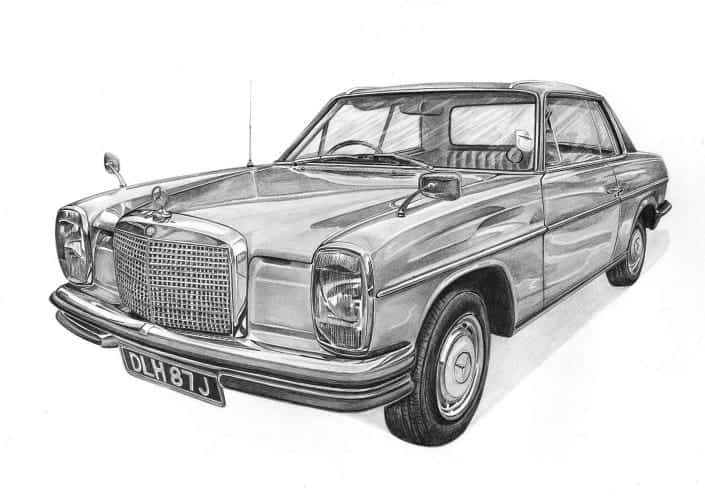 Pencil Drawing of Classic Mercedes