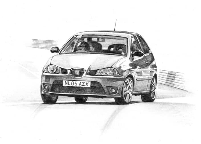 Pencil Drawing of Seat Ibiza