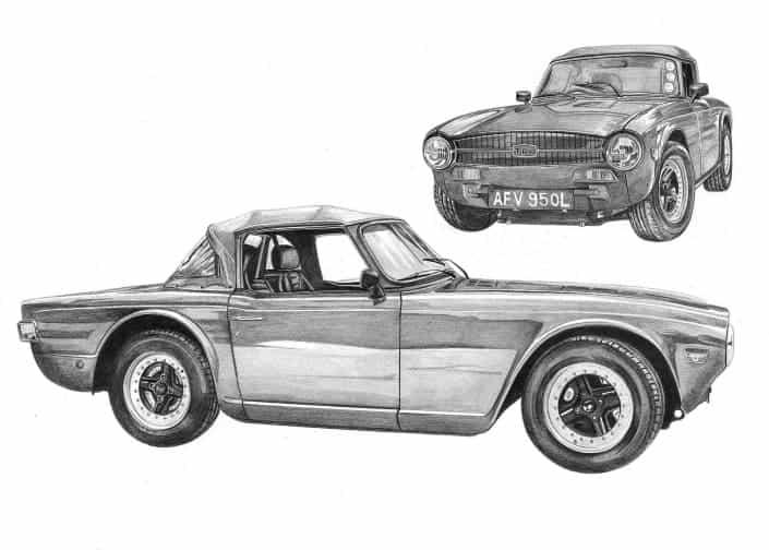 Pencil Drawing of Triumph TR6