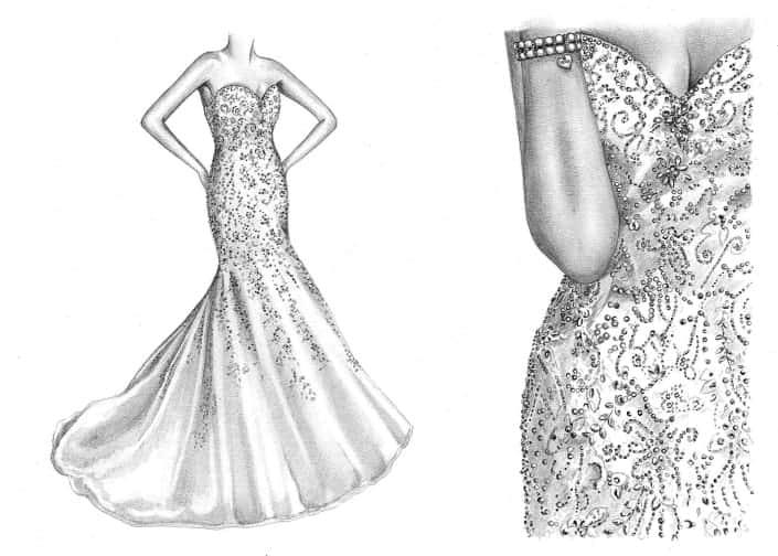Pencil Drawing of Wedding Dress