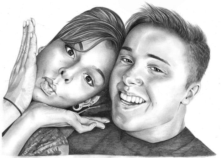 Pencil Portrait of Girlfriend and Boyfriend