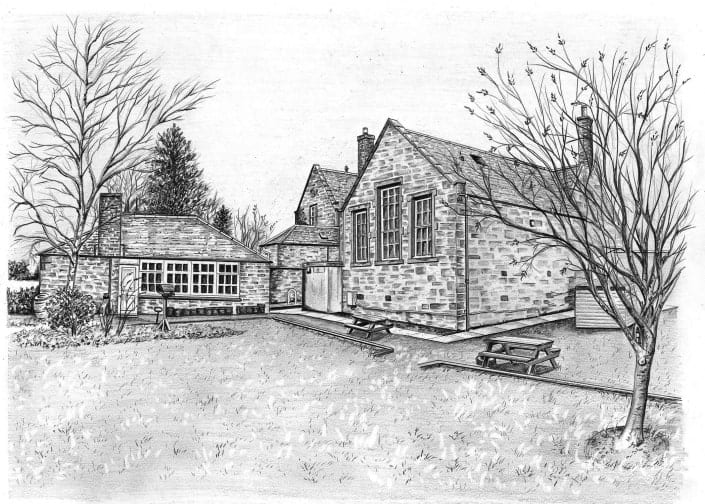 Pencil Drawing of School House