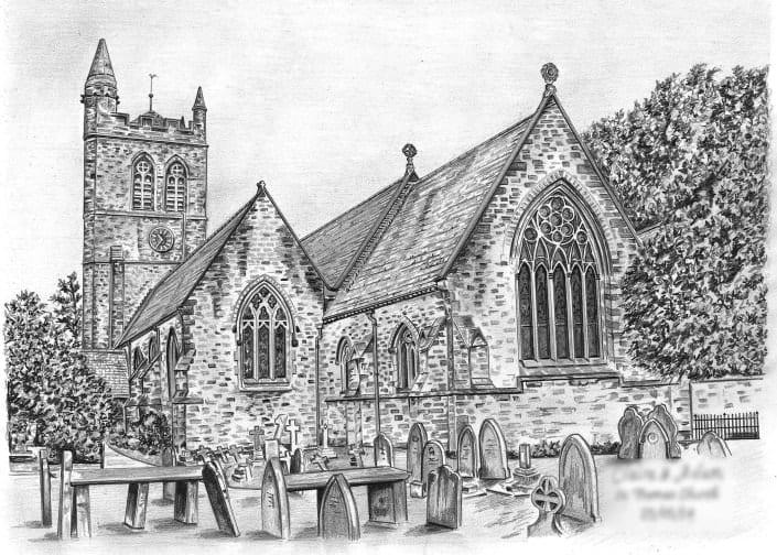 Pencil Drawing of St Thomas Church