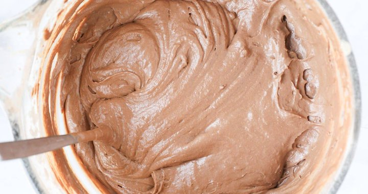 A bowl of chocolate cake batter