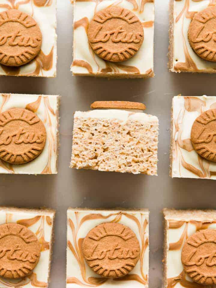 9 squares of Biscoff Rice Krispie Treats.