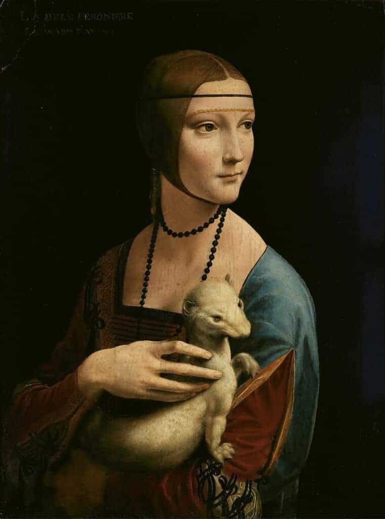Leonardo da Vinci,  Lady with an Ermine, 54 cm x 39 cm, Oil Paint, 1488.