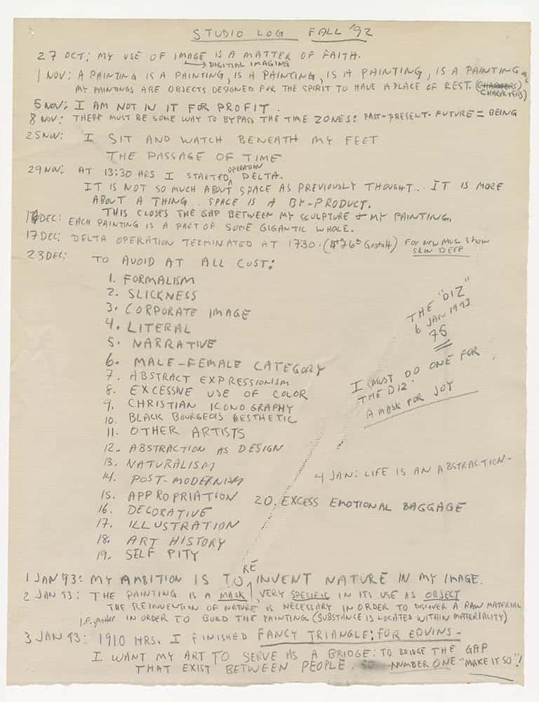 Jack Whitten studio notes, 1992