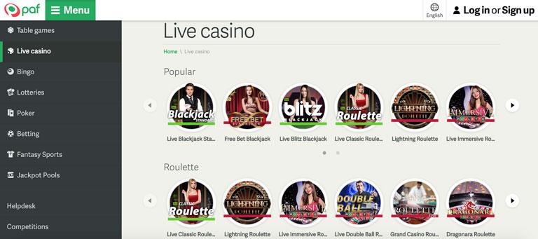 Live Casino hos Paf.com
