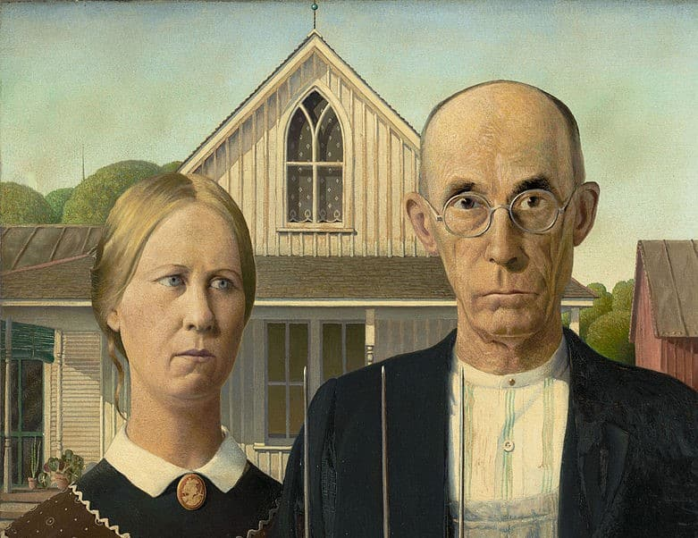 Grant Wood, American Gothic, 1930. (Cropped).