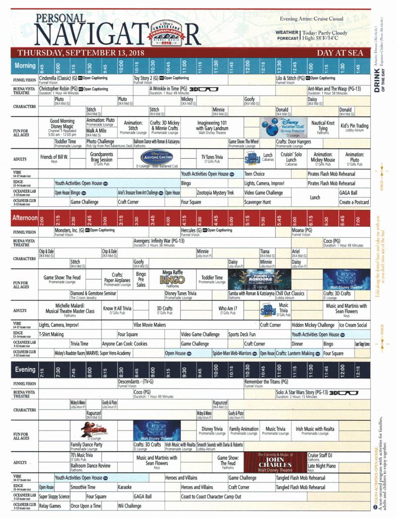 Daily Navigator September 13, 2018 Disney Magic Transatlantic Cruise