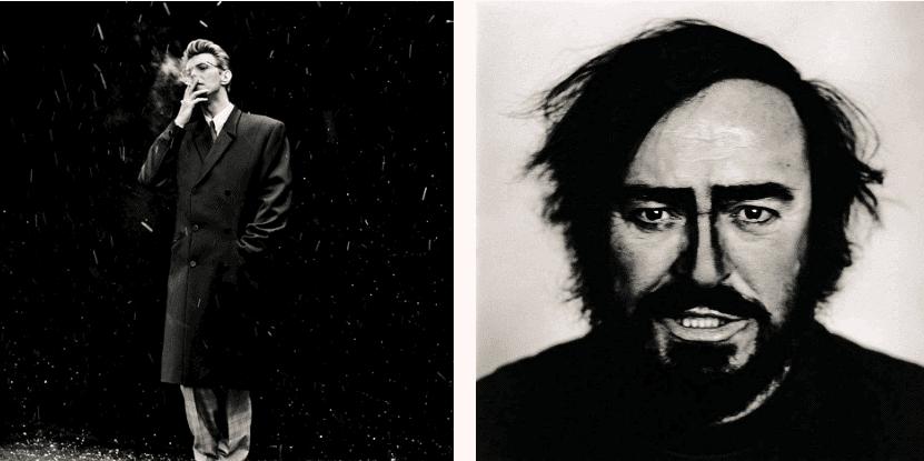 Anton Corbijn, David Bowie, 1993 and Luciano Pavarotti, Turin, 1996. © Anton Corbijn