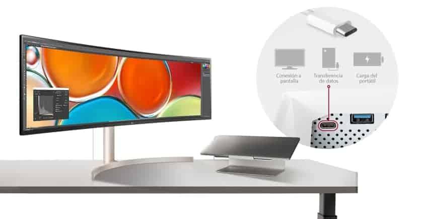 Conexión USB-C para portátil
