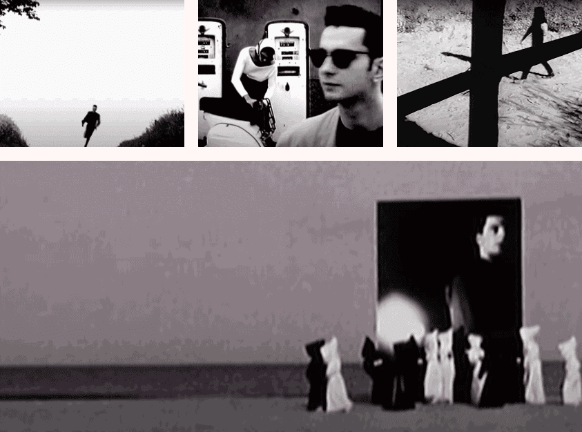music video stills, (from left to right) Depeche Mode Never Let Me Down Again, Depeche Mode Behind the Wheel, Danzig Killer Wolf, Joy Division, Atmosphere.