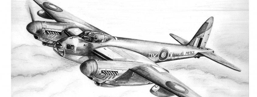 Pencil Drawing of de Havilland Mosquito