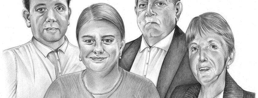 Pencil Drawing of Family at Wedding