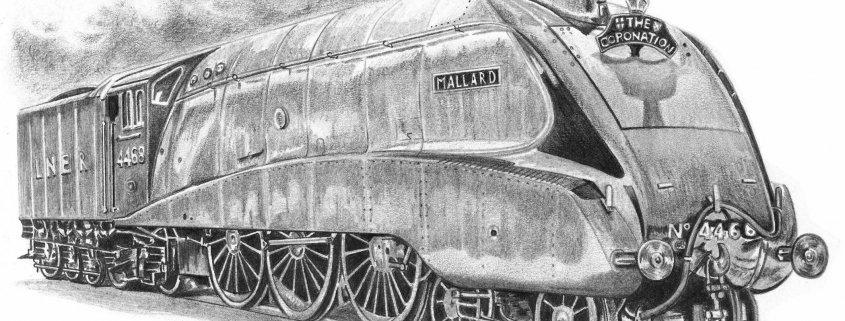 Pencil Drawing of Mallard Steam Train