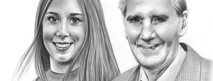 Pencil Sketch of Woman with Father