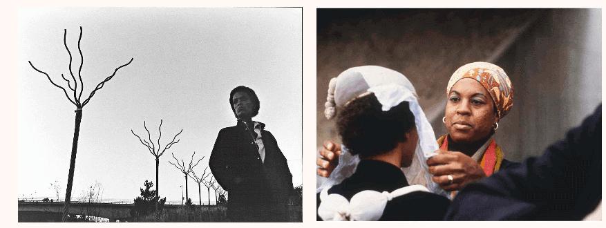 Maren Hassinger with Twelve Trees #2, 1979, Los Angeles, 1979. Photo: Adam Avila and Senga Nengudi and Maren Hassinger during the performance Ceremony for Freeway Fets, 1978. © Senga Nengudi