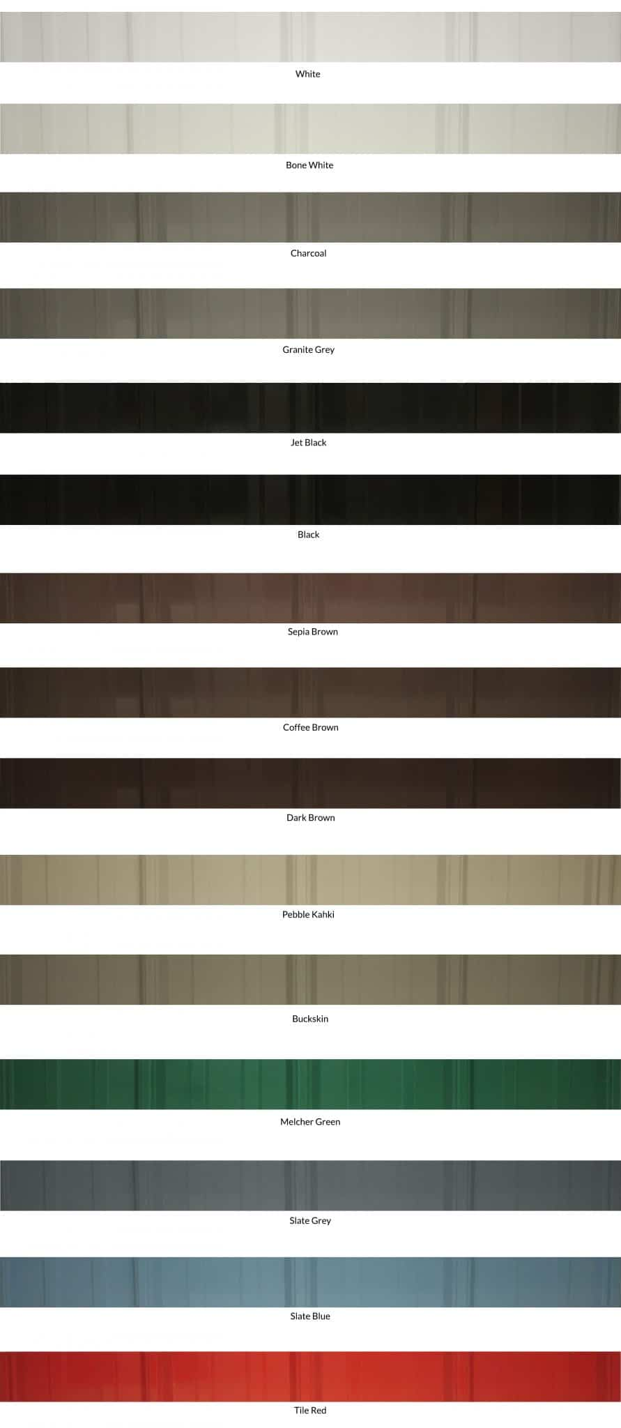 Wiseline Standing Seam Metal Roofing Panels Colour Collection