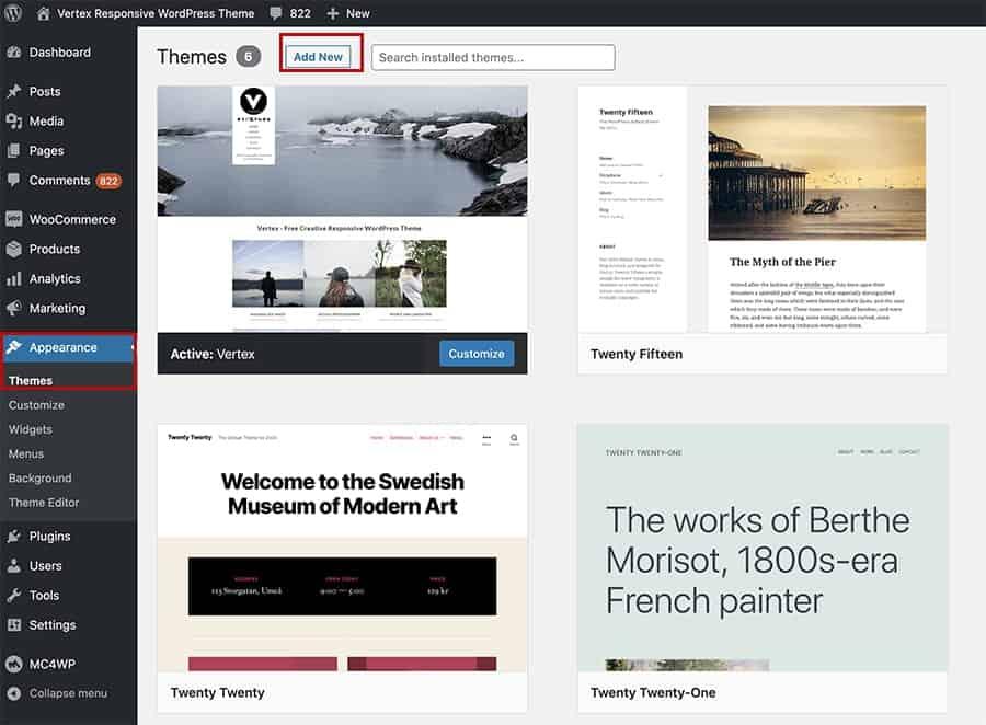 WordPress - Appearance -- add new theme