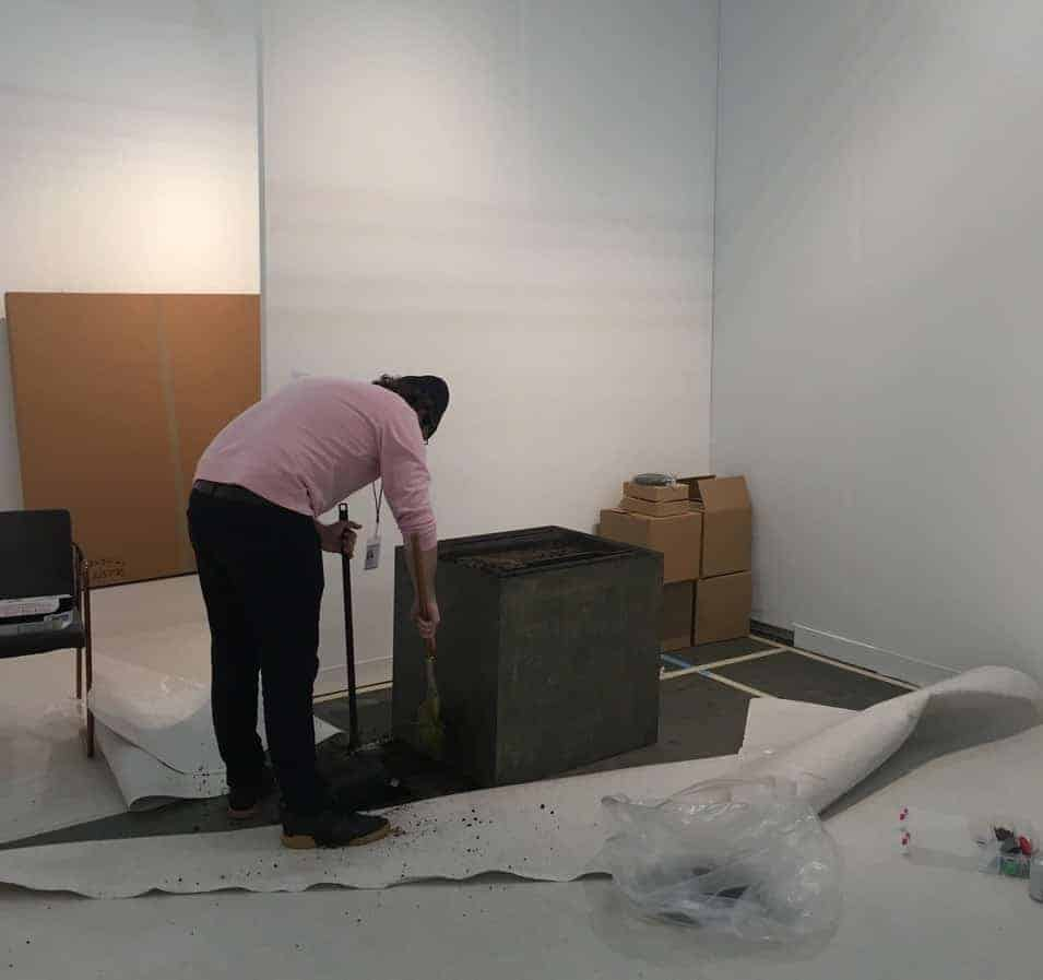 Cleaning at the end of The Armory Fair, 2020.