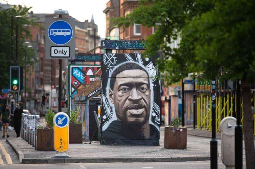 George Floyd street art in Manchester.