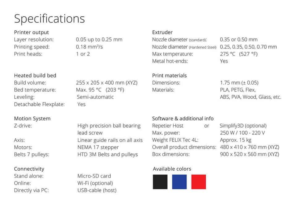 Specs FELIX Tec 4L 1024x724 - FELIX Tec 4.1 3D Printer