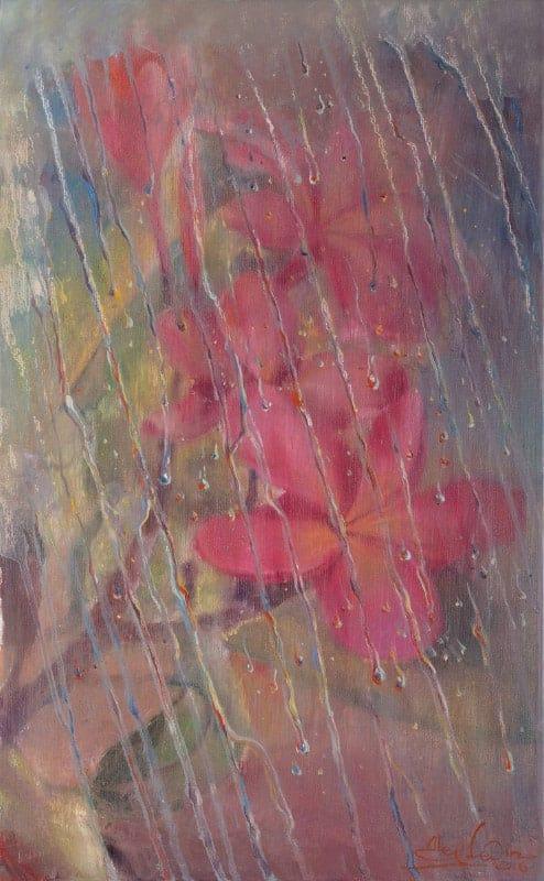 Original Oil Painting: Rainy improvisation
