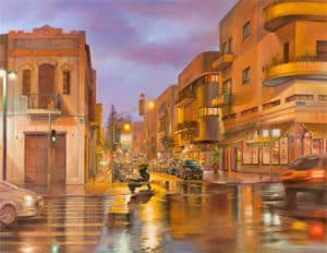 Rain of light in Tel Aviv, Painting by Alex Levin