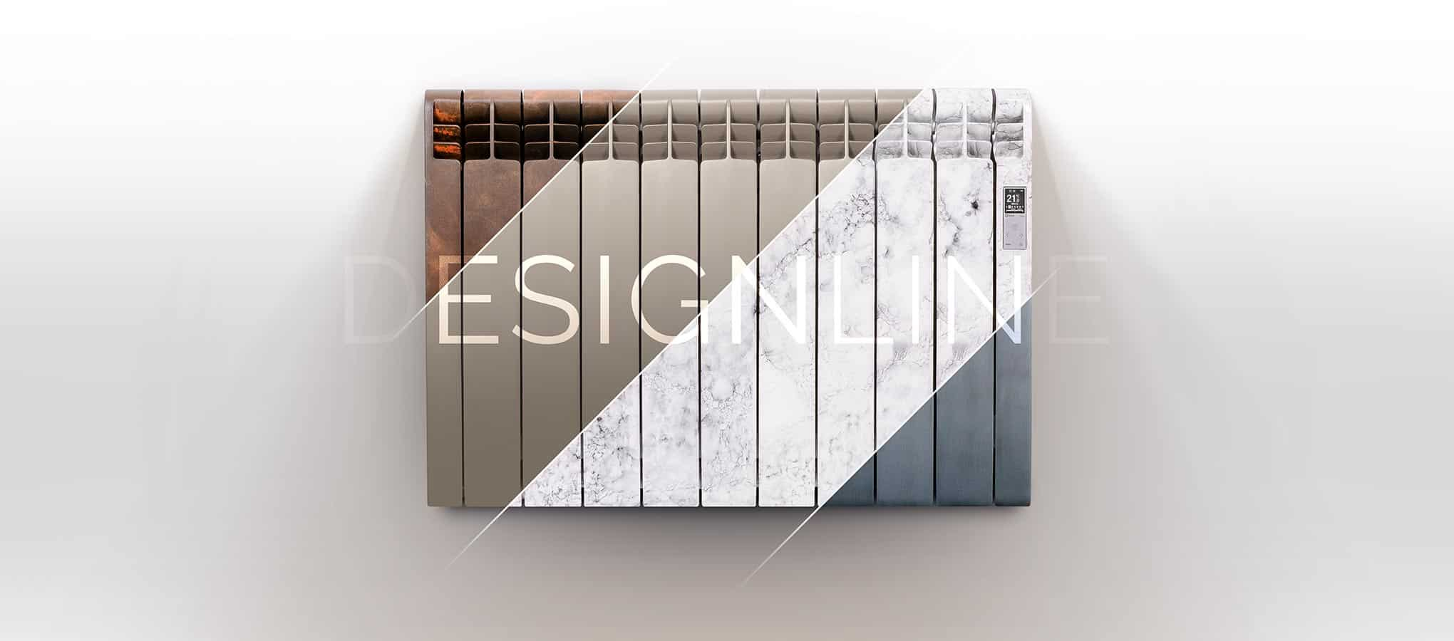 Rointe DESIGNLINE radiator mash up featuring brown oxide, pearl beige, marble and silver coloured radiators