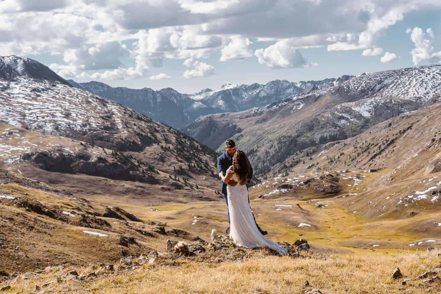 Bride and Groom Hugging in Mountains at Silverton, CO Elopement