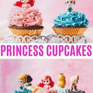 Disney Princess Cupcakes Pinterest image with text overlay.