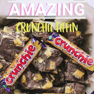 Pinterest image for Crunchie Tiffin recipe