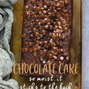 Chocolate loaf cake Pinterest image with text overlay.