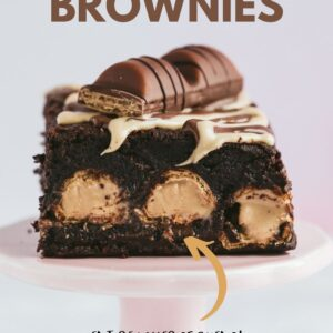 A chocolate brownie with a layer of kinder in the middle. Pinterest image with text overlay.