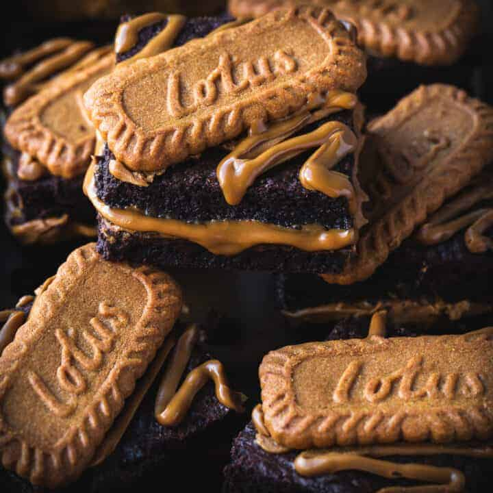 Biscoff brownies with an oozing biscoff centre.