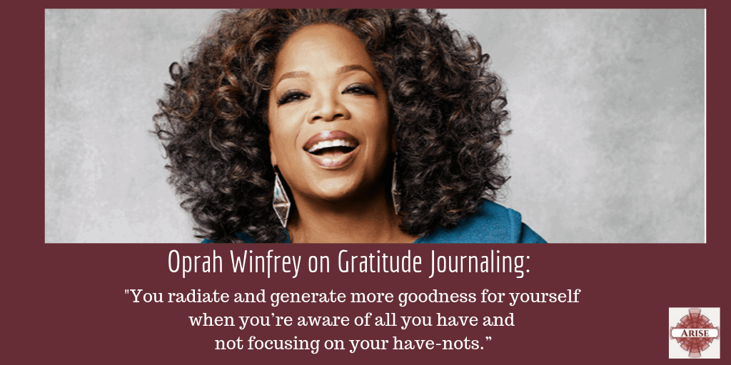 Oprah Winfrey quote about why gratitude journaling is vital to her success