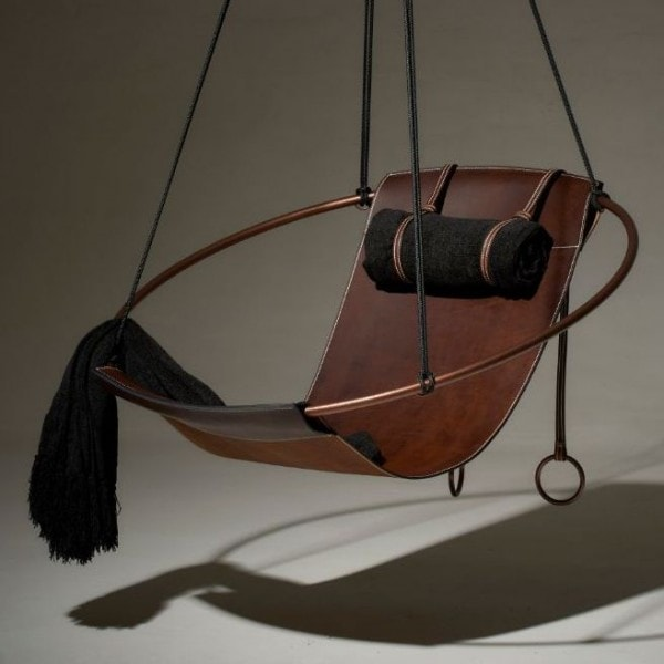 Sling hanging swing chair - LEATHER - Black, Brown, White