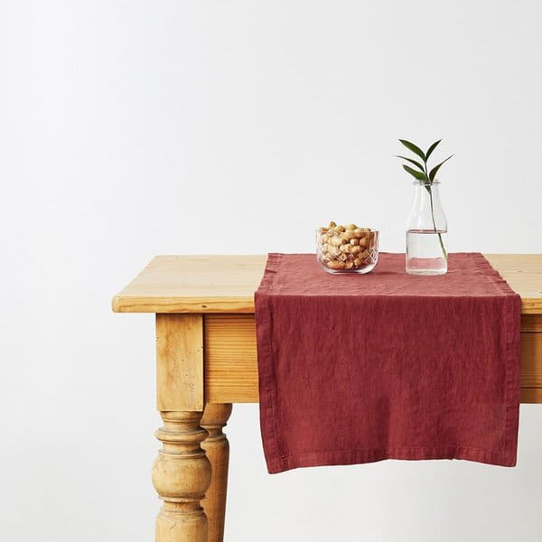 Red Pear Washed Linen Table Runner - Lithuania