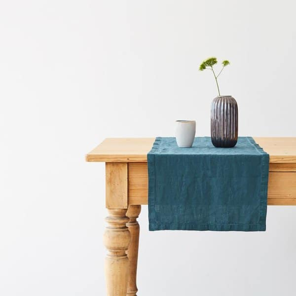 Deep Water Washed Linen Table Runner - Lithuania