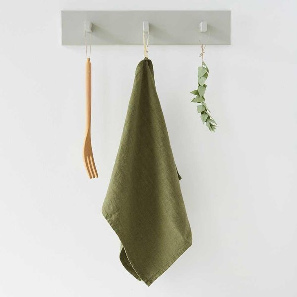 Martini Olive Washed Linen Tea Towel - Lithuania