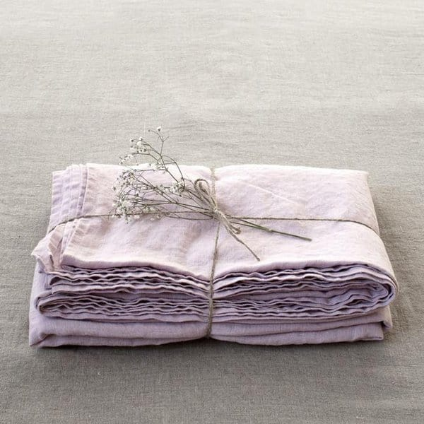 Pink Lavender Linen Bed Sheet - Lithuania