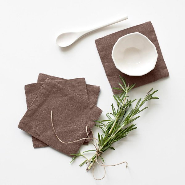 Set of 4 Nutmeg Washed Linen Coasters - Lithuania