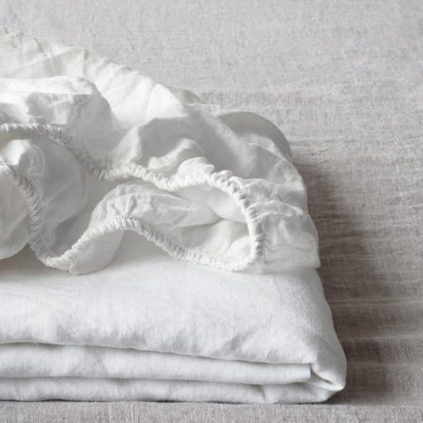White Fitted Washed Linen Bed Sheet - Lithuania