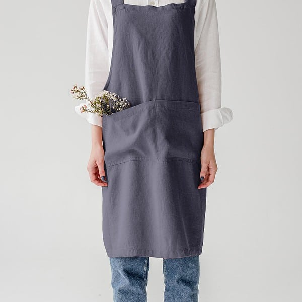 Dark Grey Washed Linen Crossback Apron - Lithuania