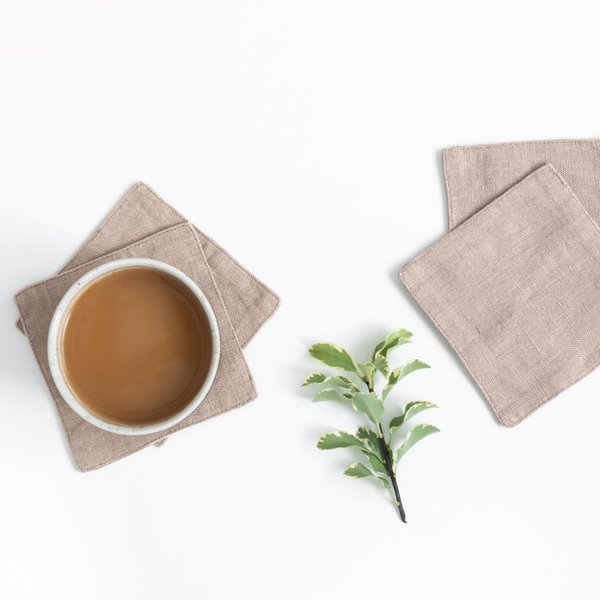 Set of 4 Portobello Washed Linen Coasters - Lithuania