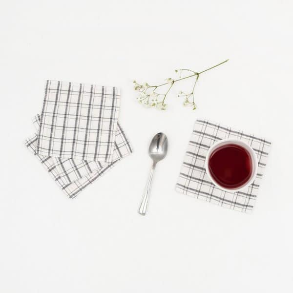 Set of 4 Grey Checks Washed Linen Coasters - Lithuania
