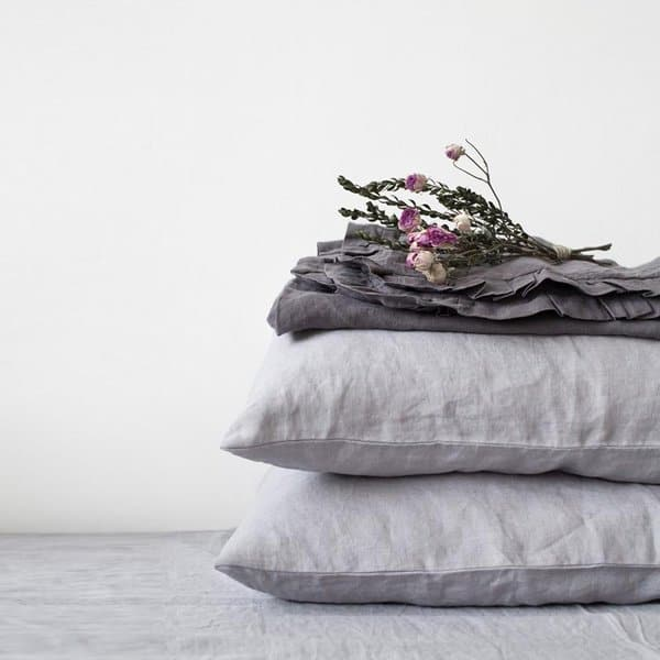 Light Grey Washed Linen Pillow Case - Lithuania