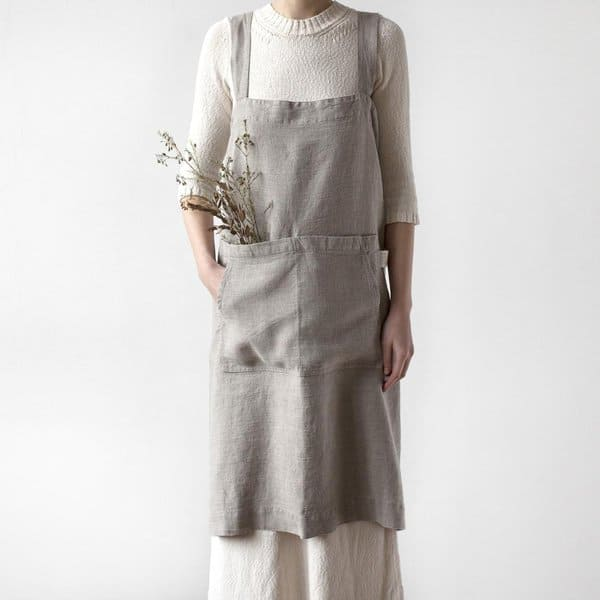 Natural Washed Linen Pinafore Apron - Lithuania
