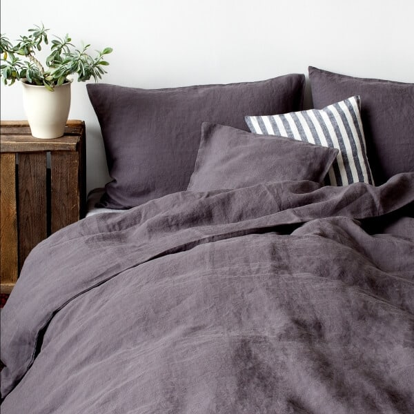 Dark Grey Washed Linen Bed Set - Lithuania
